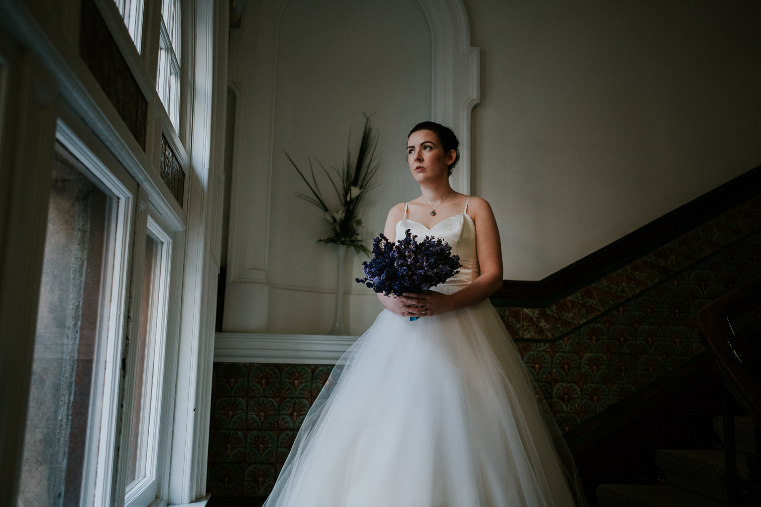 Romantic bridal portrait at the Glasgow registry office.