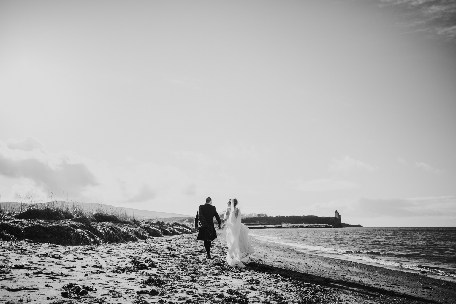 Bride and groom's portrait at the Greenan castle in Ayrshire