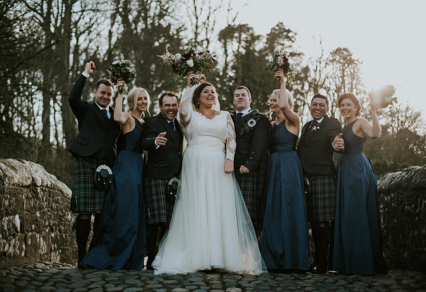 Bridal party at Brig o' Doon bridge
