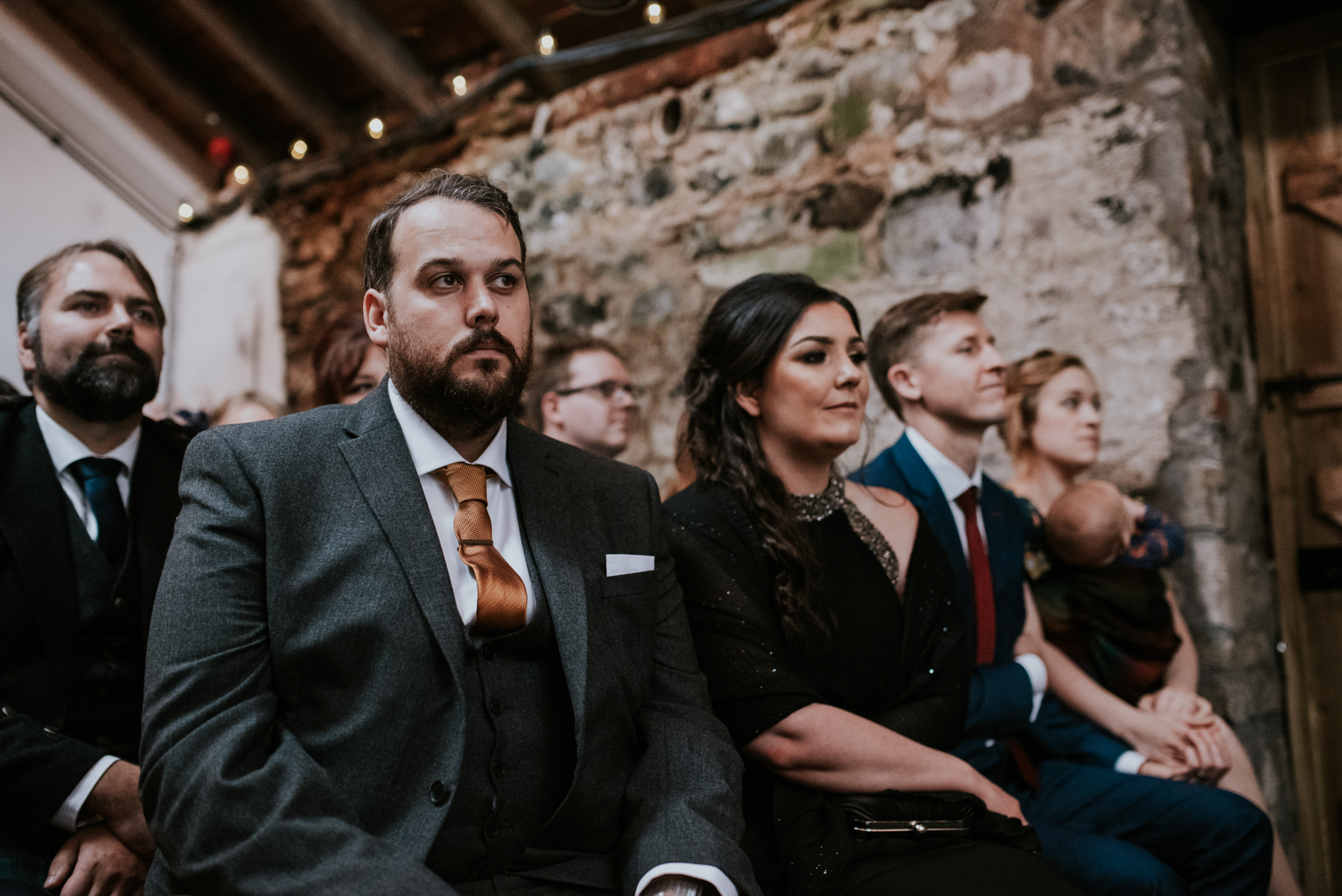 Guests sits in the ceremony room at Harelaw farm