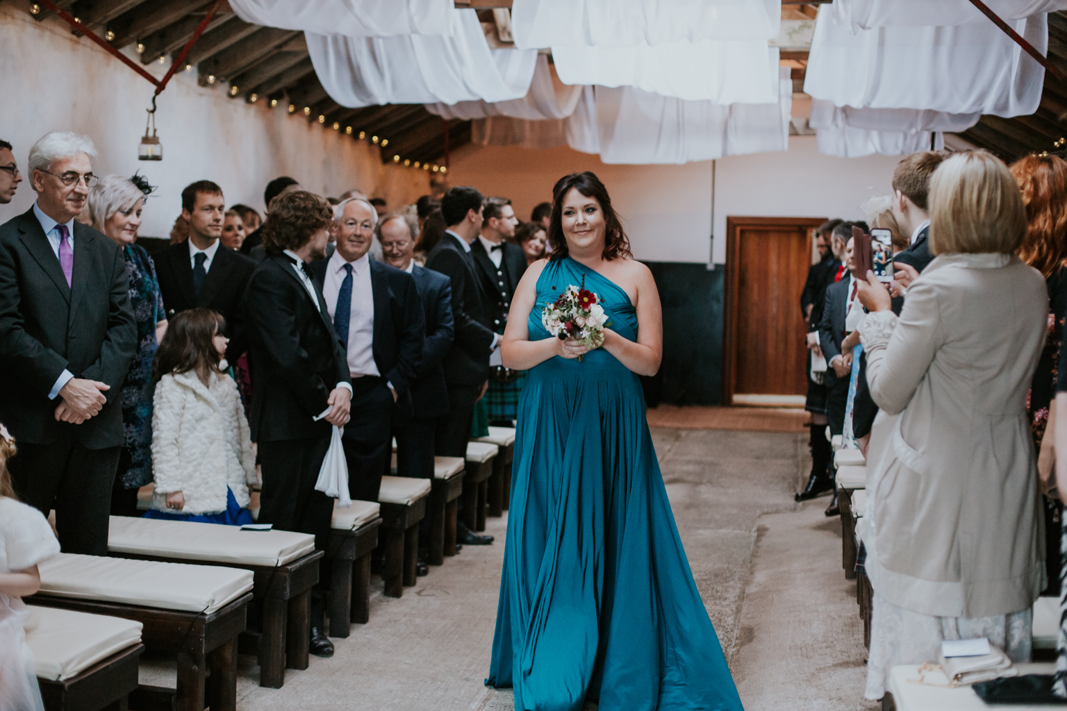 Bridesmaid walks down the aisle at Harelaw farm