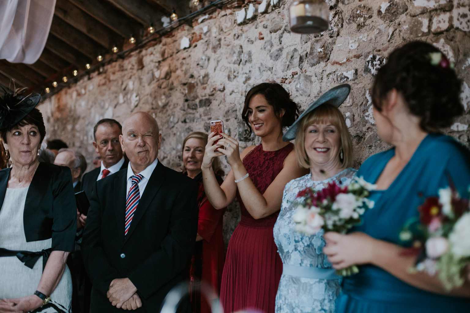 Funny guests at the wedding ceremony at the Harelaw farm