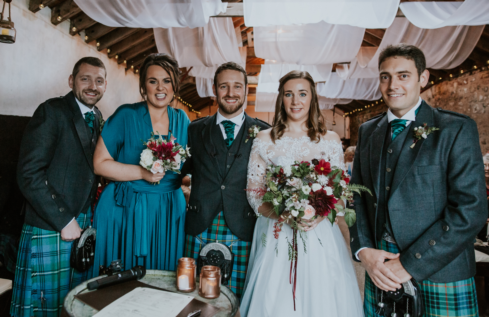 Wedding witnesses with the bride and groom. Harelaw farm wedding photographer