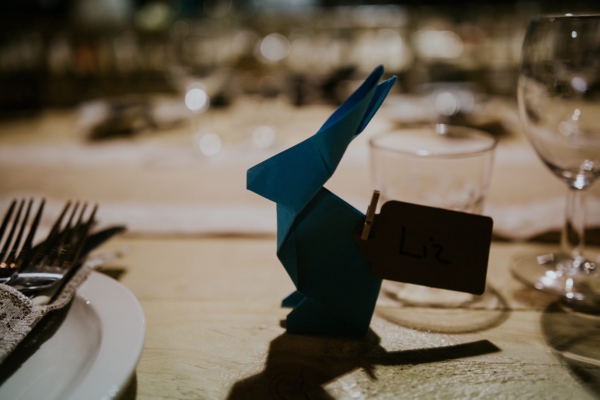 Paper origami bunny for table set up, Harelaw farm, Ayrshire
