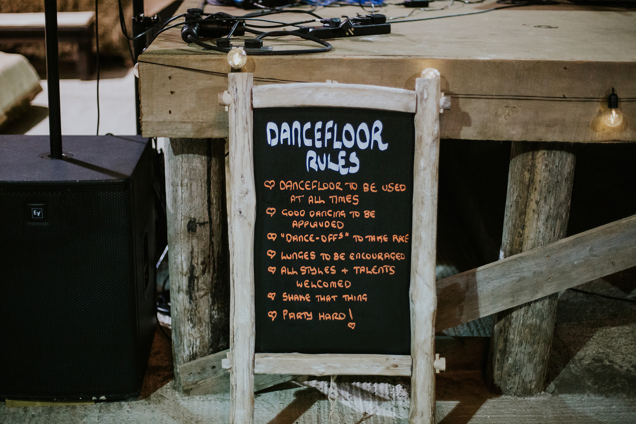 Dance floor rules at Harelaw farm venue, Ayrshire wedding photographer