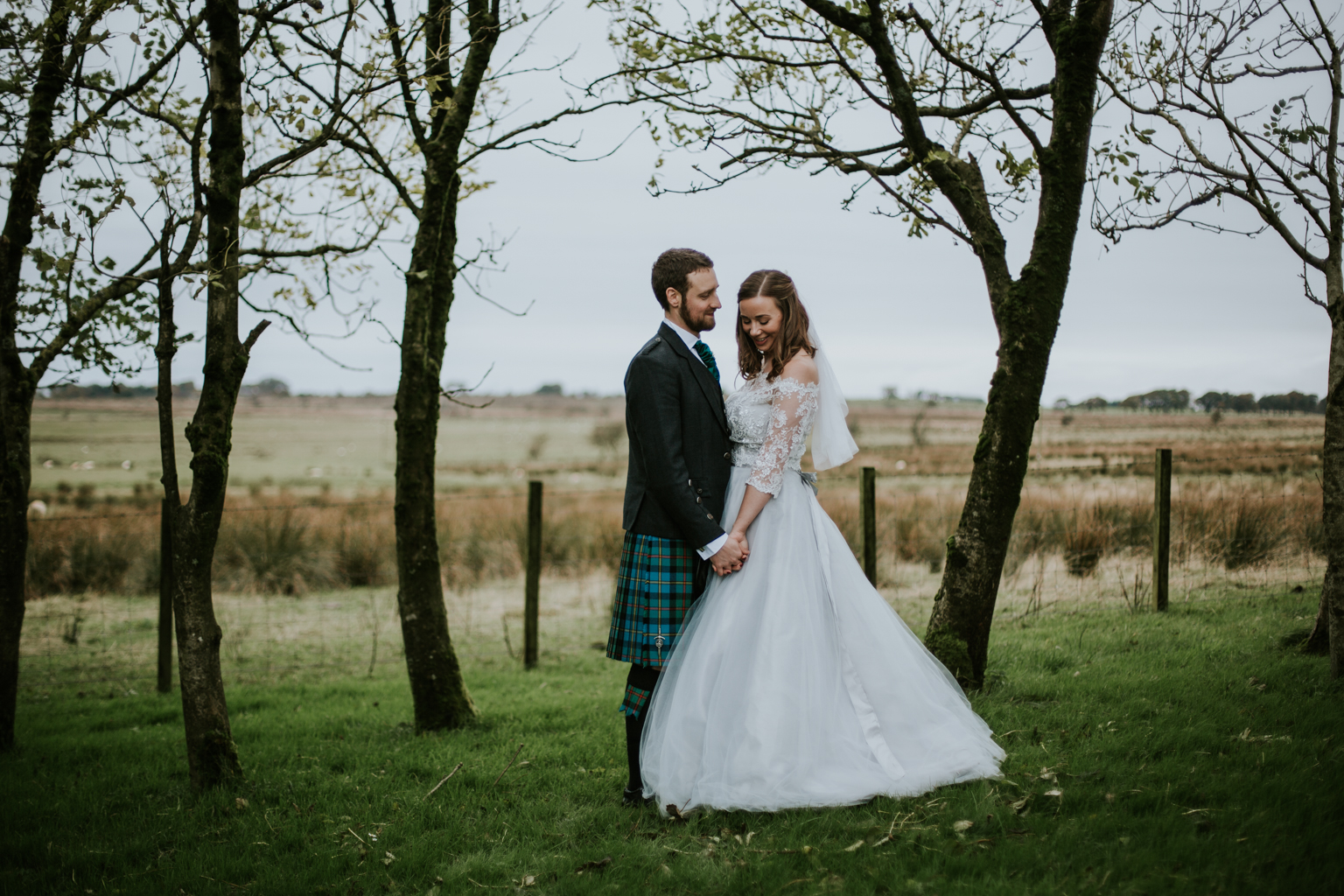 A romantic portrait photo session. Harelaw farm wedding, Ayrshire.