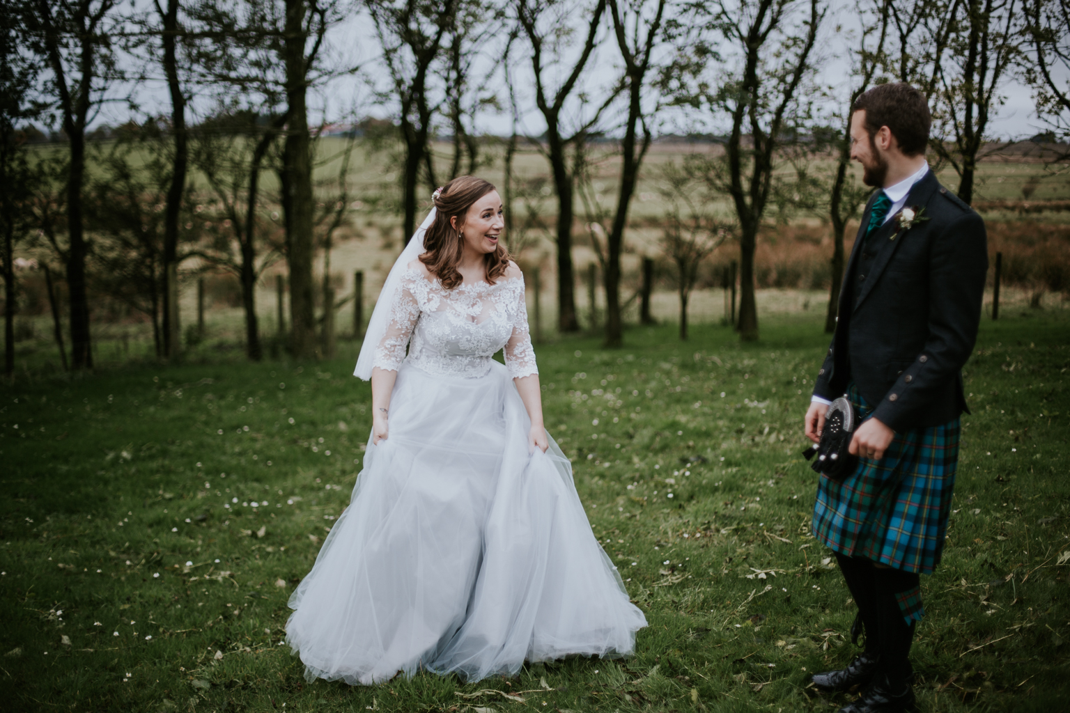 Happy boho style couple. Harelaw farm.