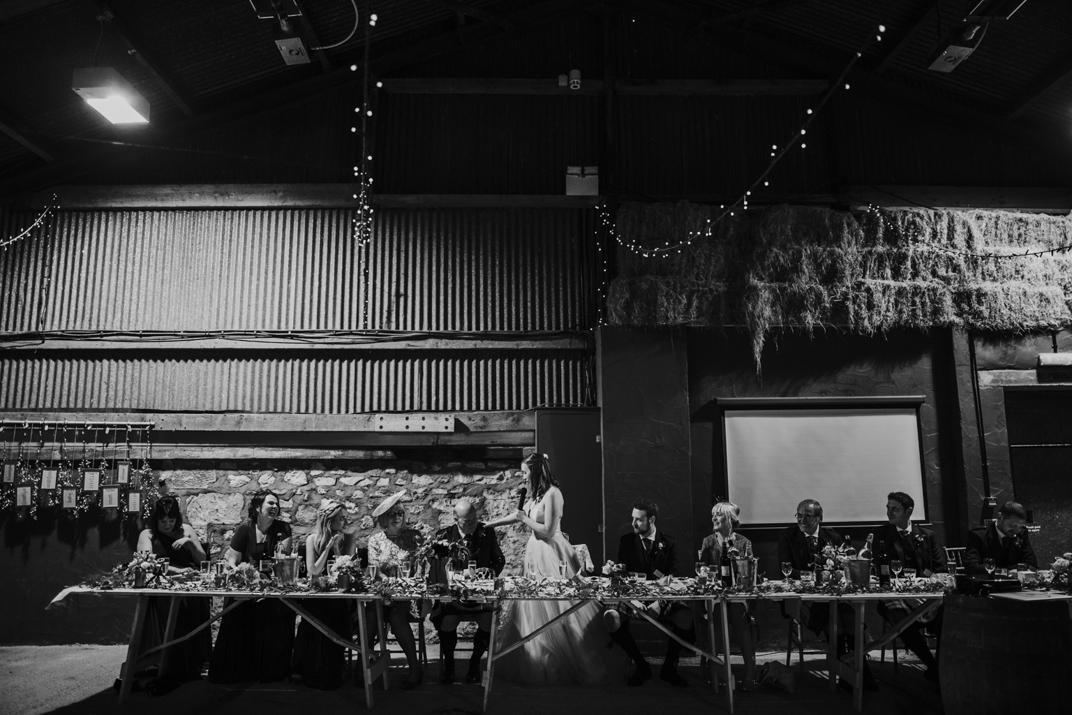 The bride is doing speech at the wedding reception, Harelaw farm, Ayrshire wedding photography