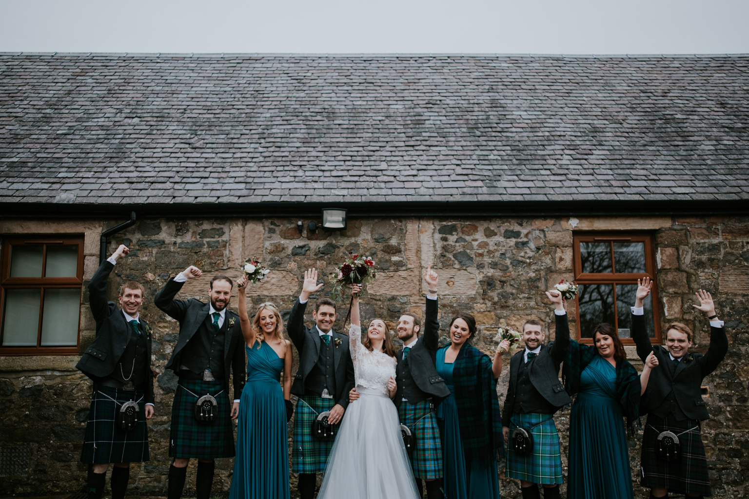Bridal party formal shot at Harelaw farm.
