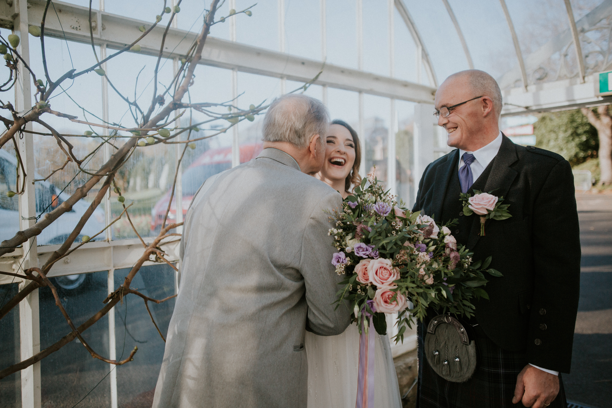 Bride before the ceremony with the father and grand father at the Botanic Gardens in Glasgow