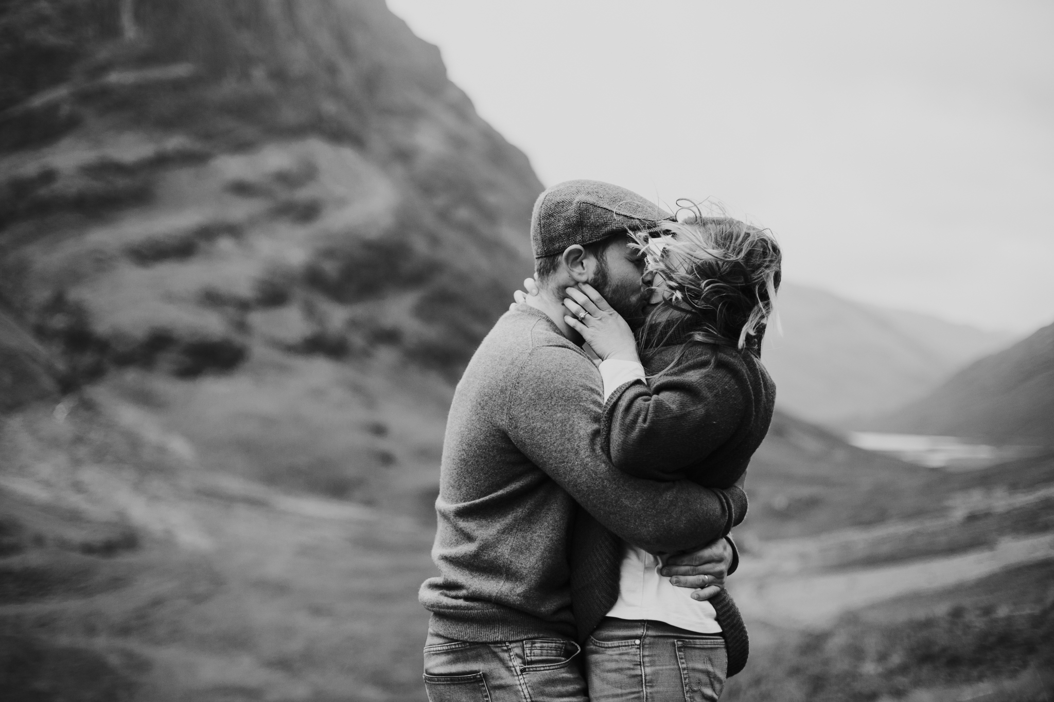 A sweet kiss in the Scottish Glencoe