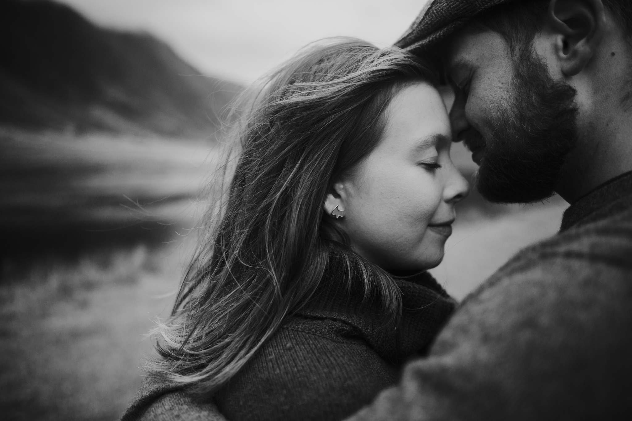An intimate close up black and white shot in the Scottish Glencoe