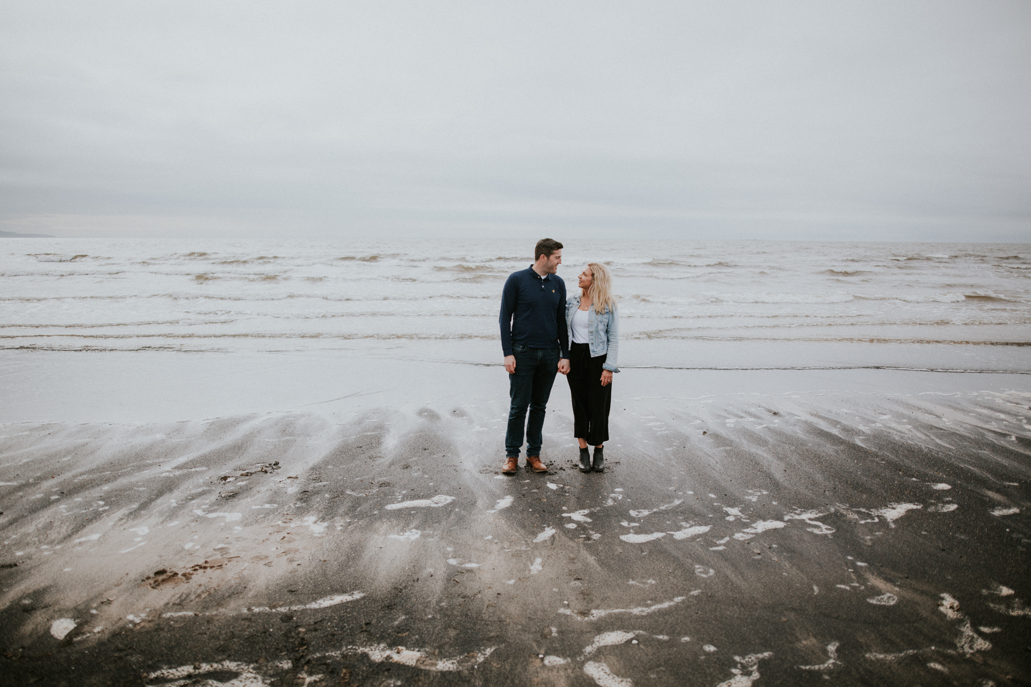 The couple is standing on the Icelandic beach in Troon, Ayrshire