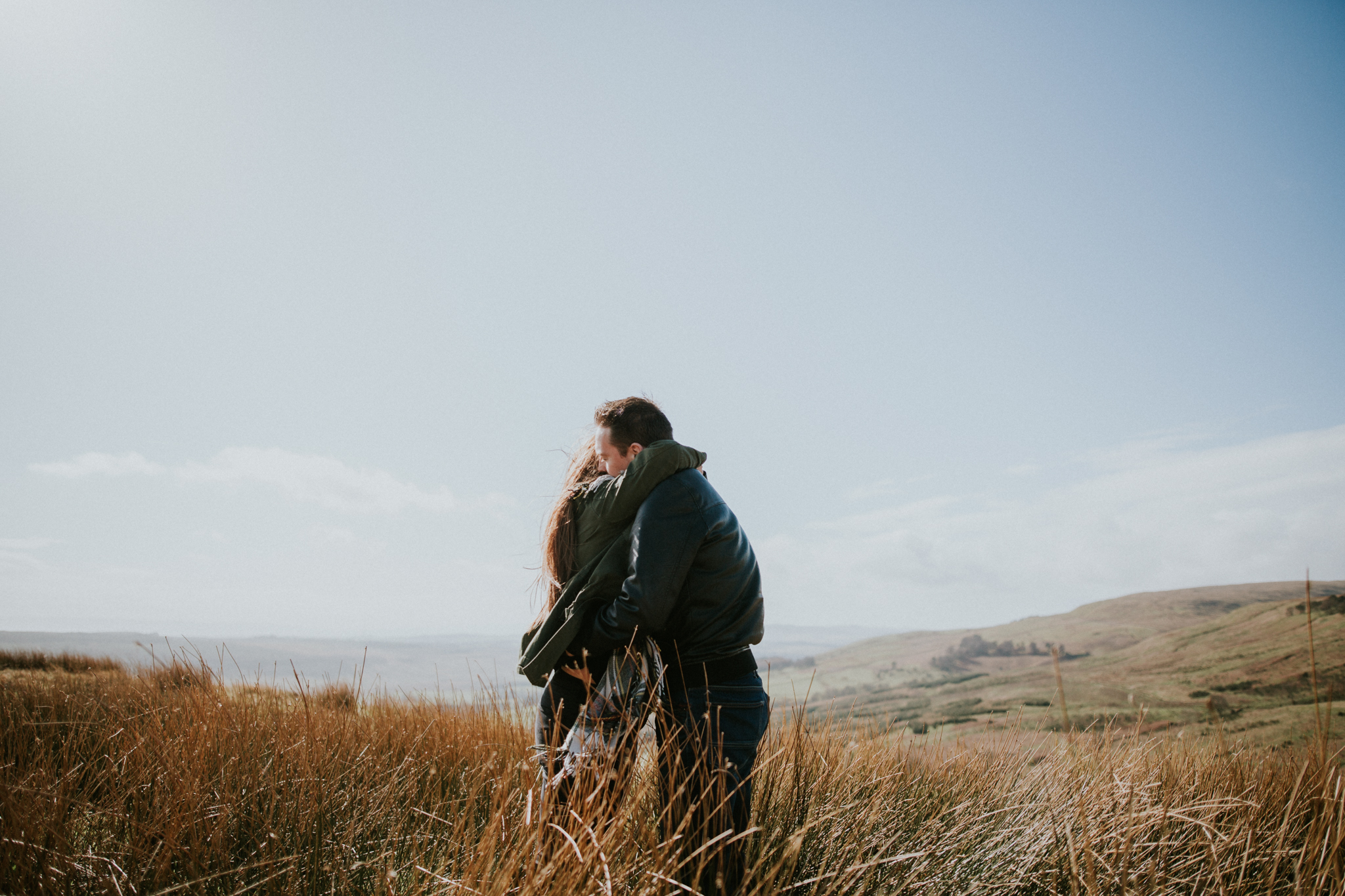 The couple is cuddling on the top of the Campsie Fells