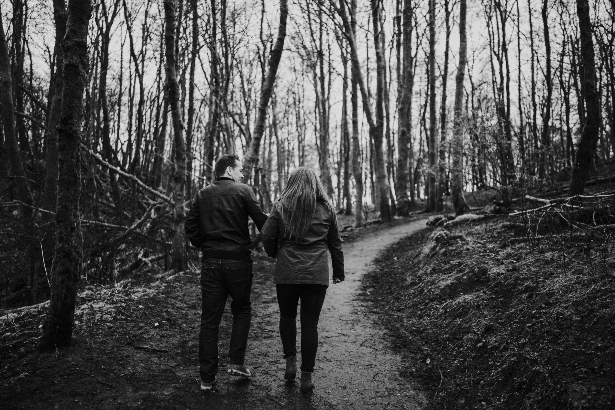 The couple is walking in the Mugdock Country Park