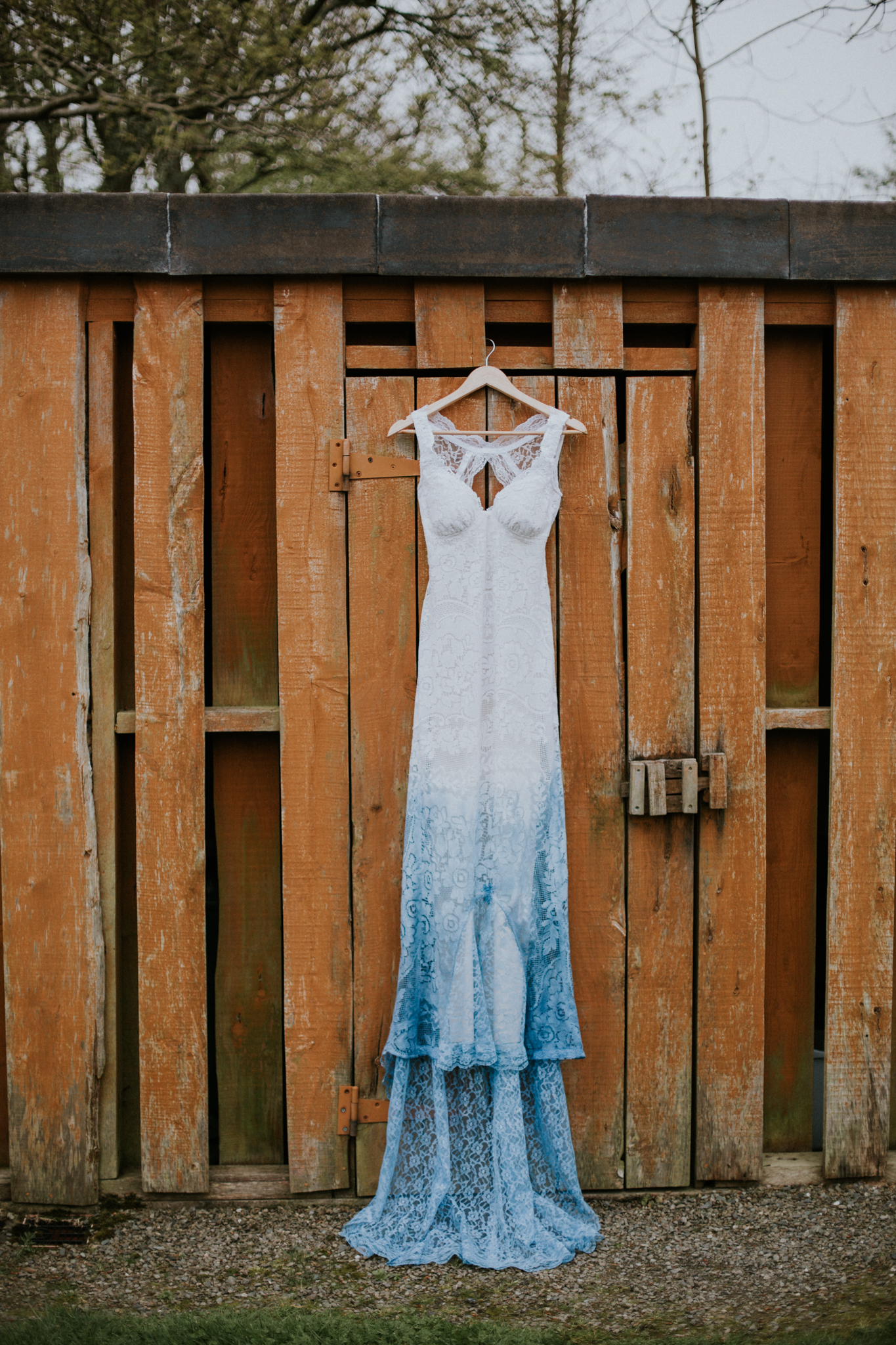 The alternative wedding dress hanged on at the Inish Beg Estate in Ireland