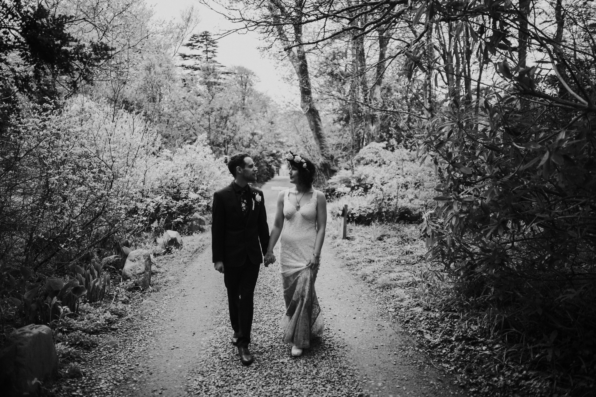 The happy couple is on the ground of Inish Beg Estate in Ireland for the couple photo shoot