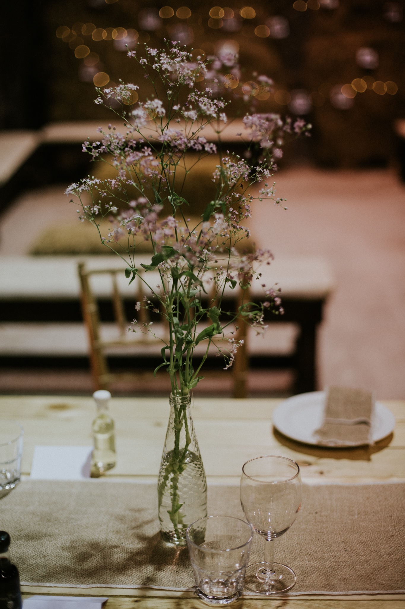 Table decor at the rustic Harelaw farm in Ayrshire