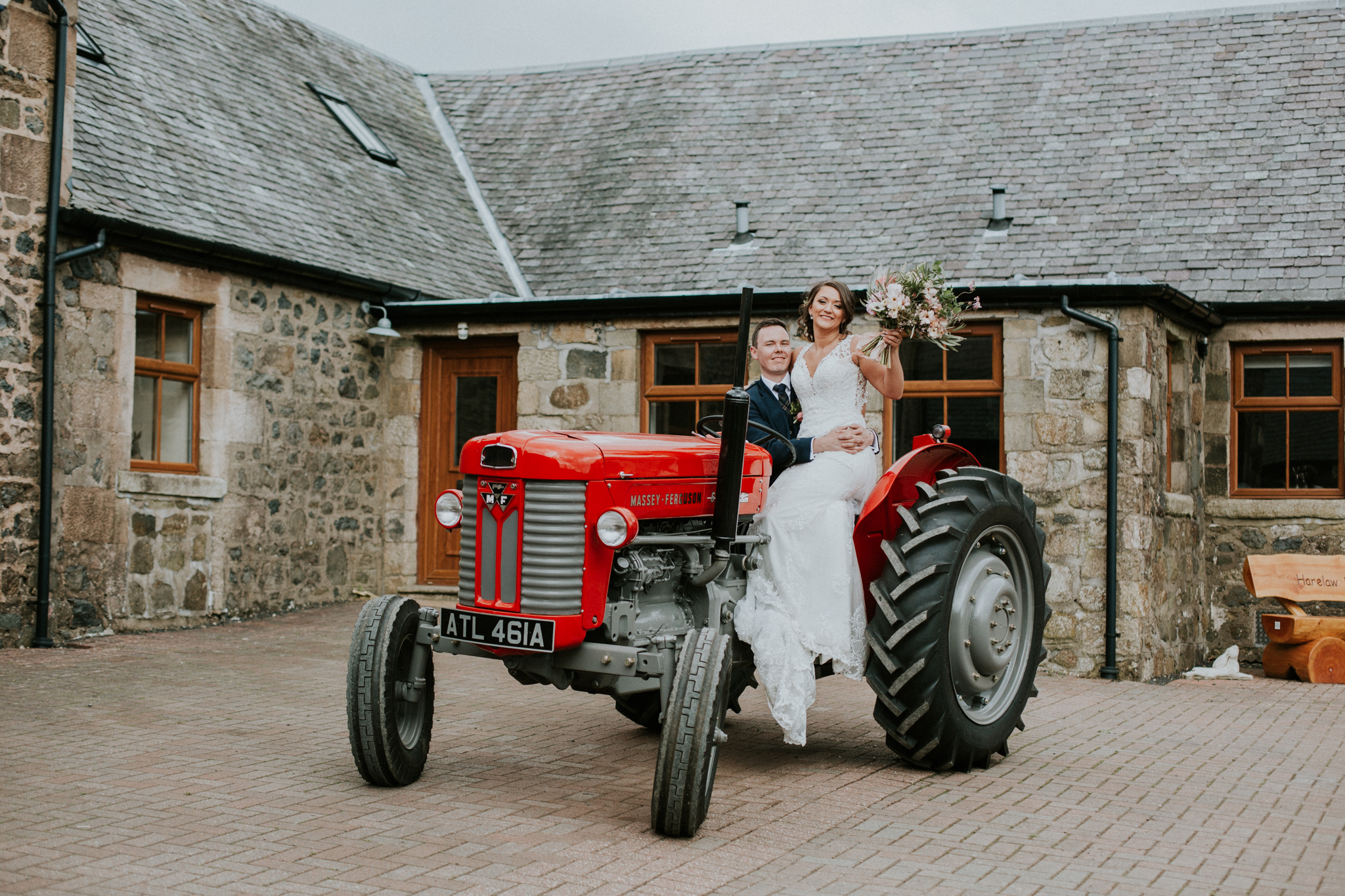 The couple shot on the tractor at the Harelaw farm