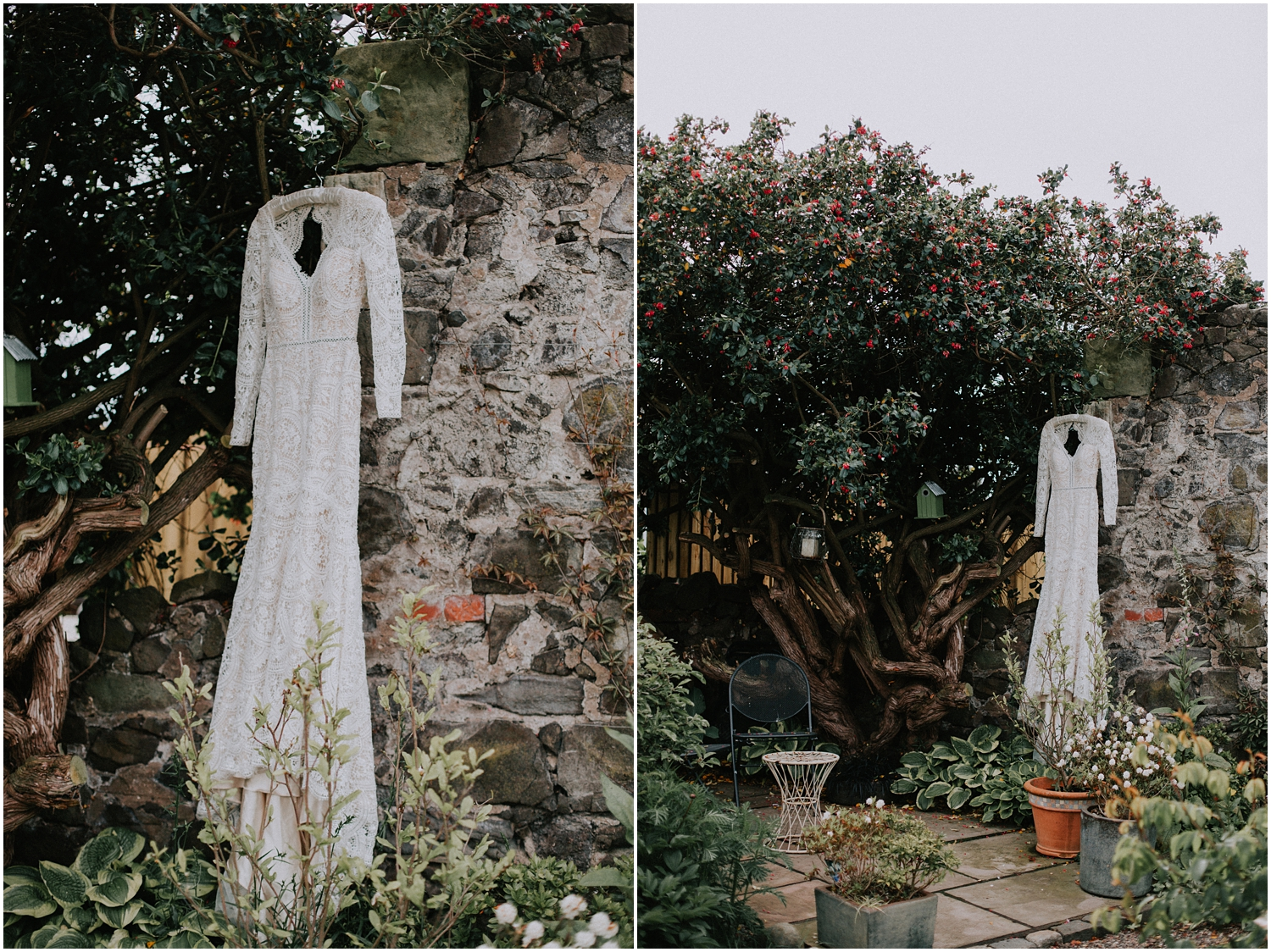 The boho style wedding dress is hang on in the Japanese garden in Dundee