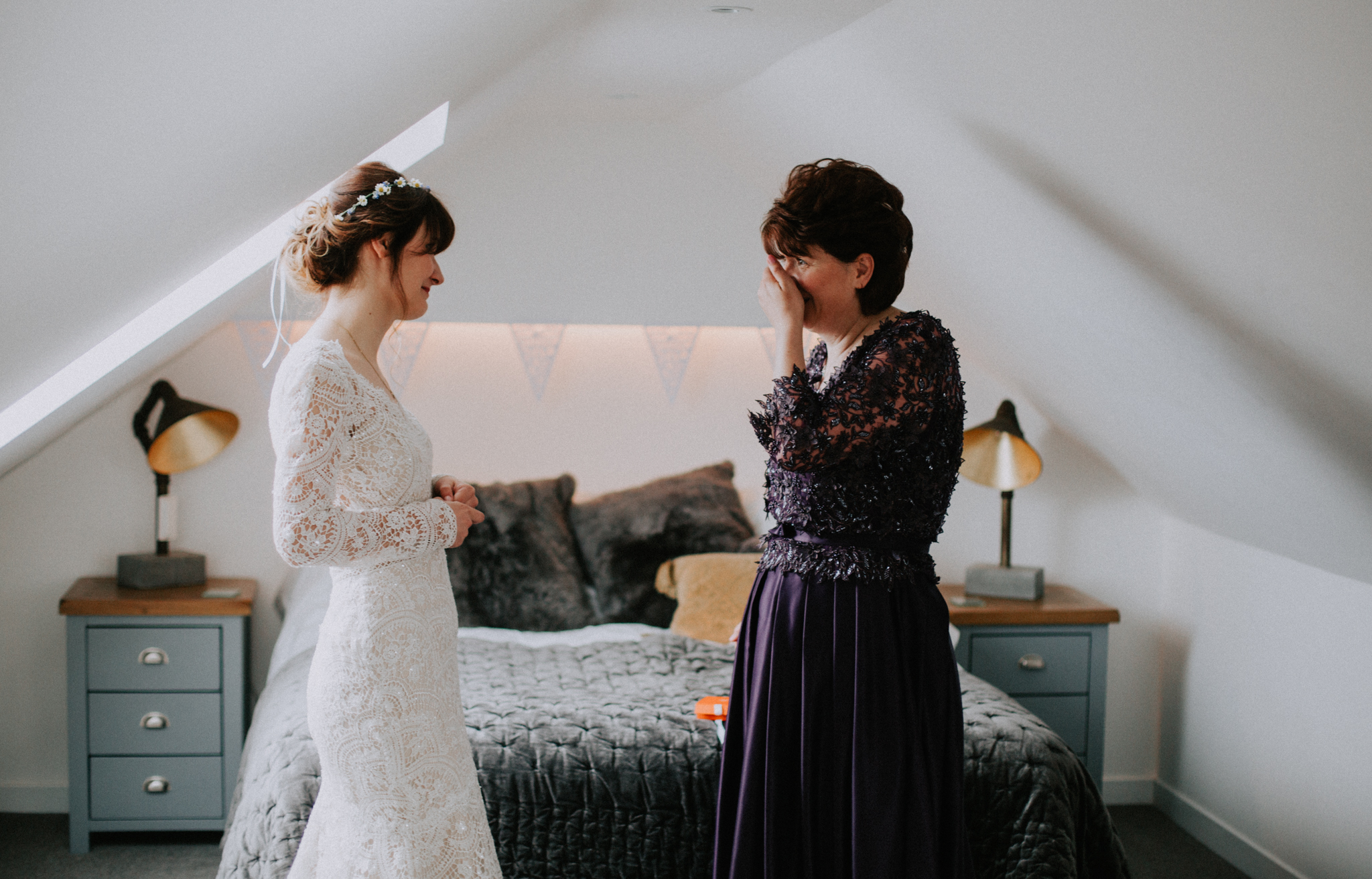 So emotional moment between bride and her mother before the wedding ceremony