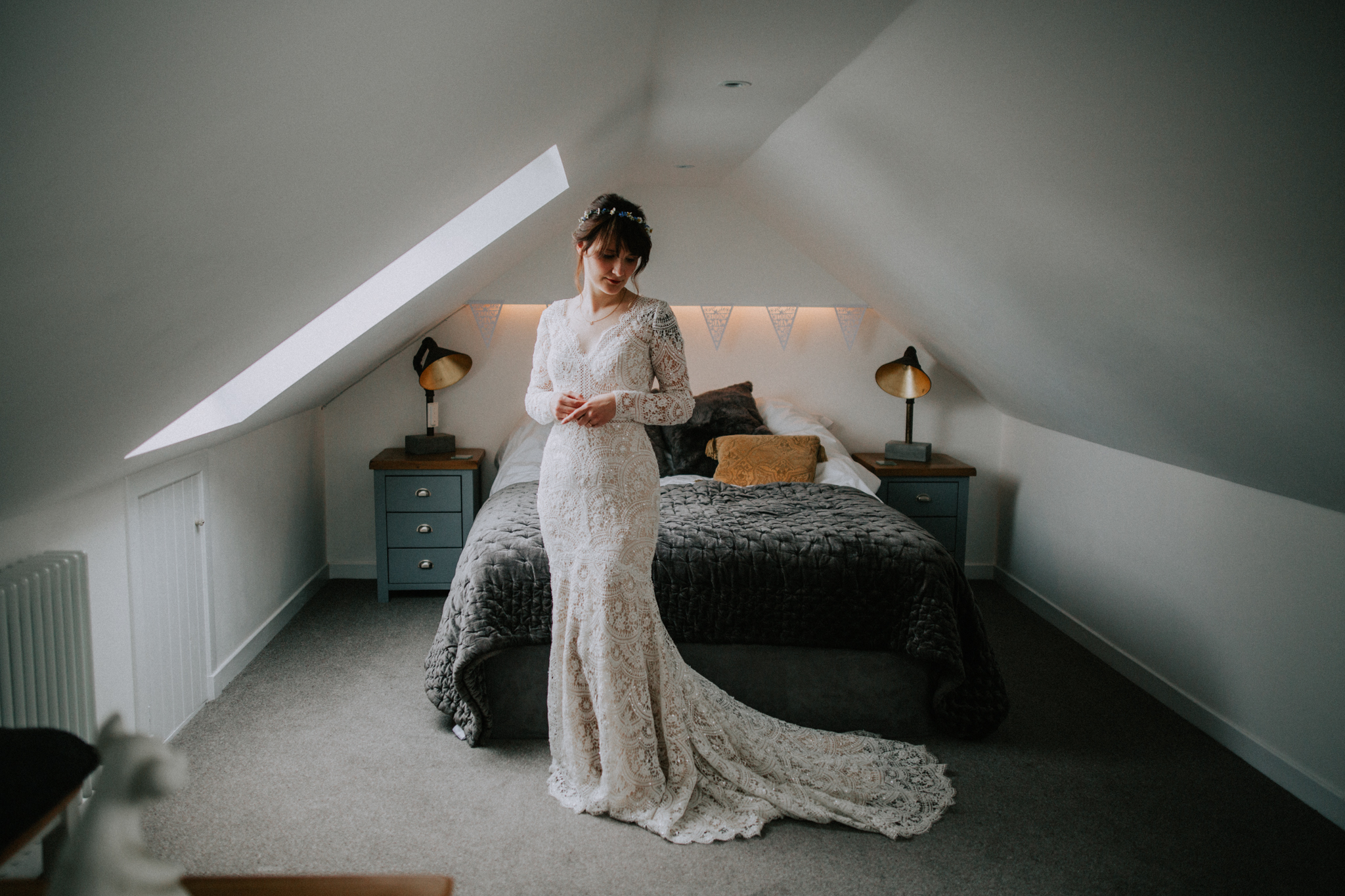 Indoor bridal portrait before the wedding ceremony