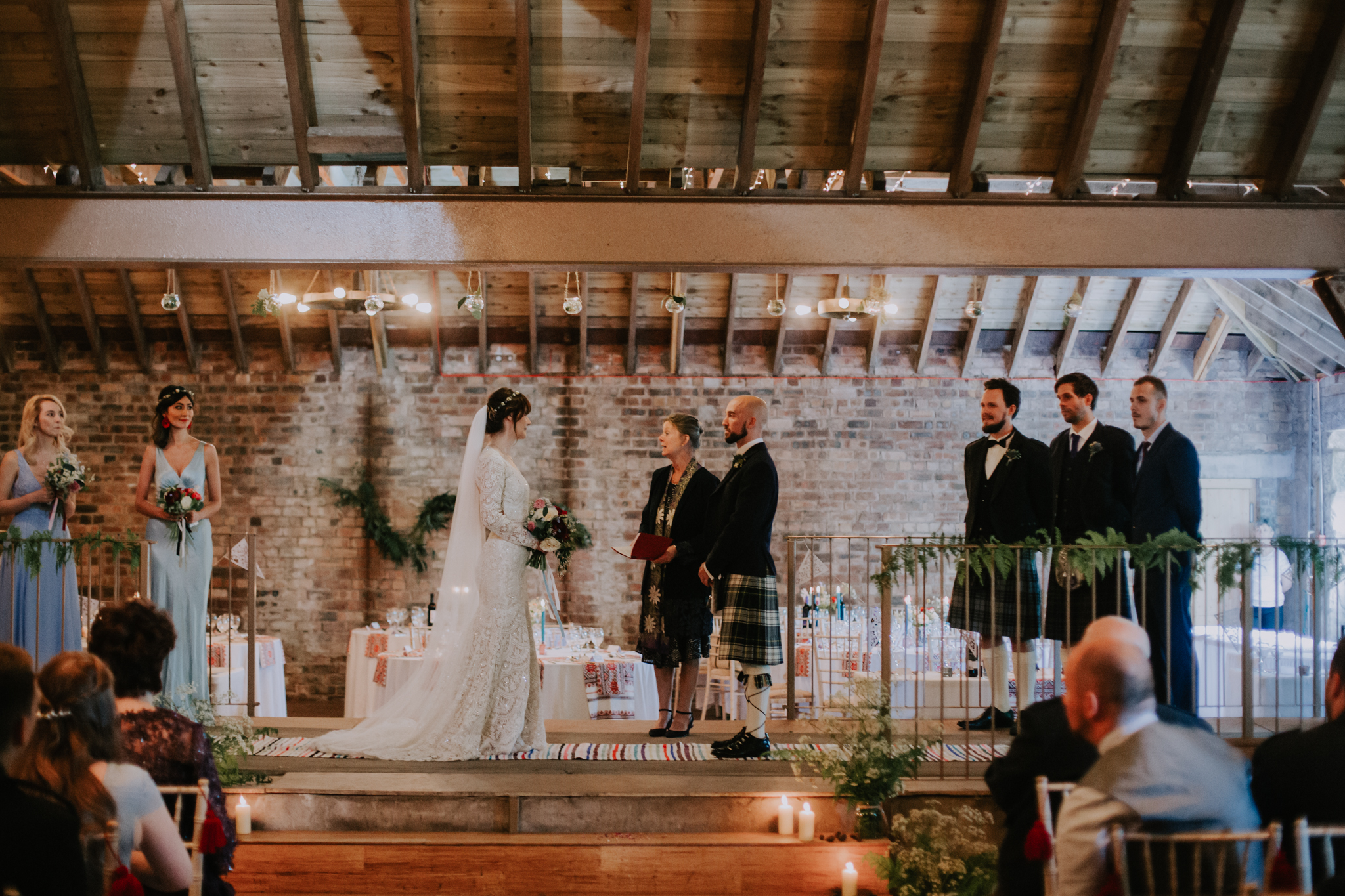 Indoor a boho style wedding ceremony at the Rhynd