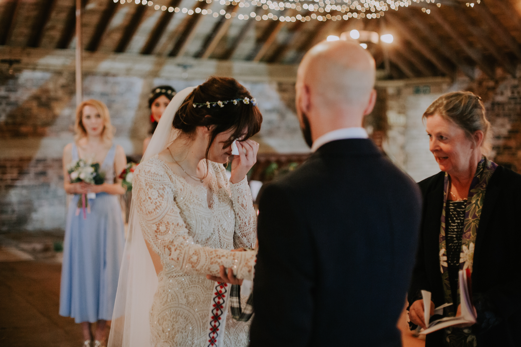 Bride is crying during the wedding ceremony