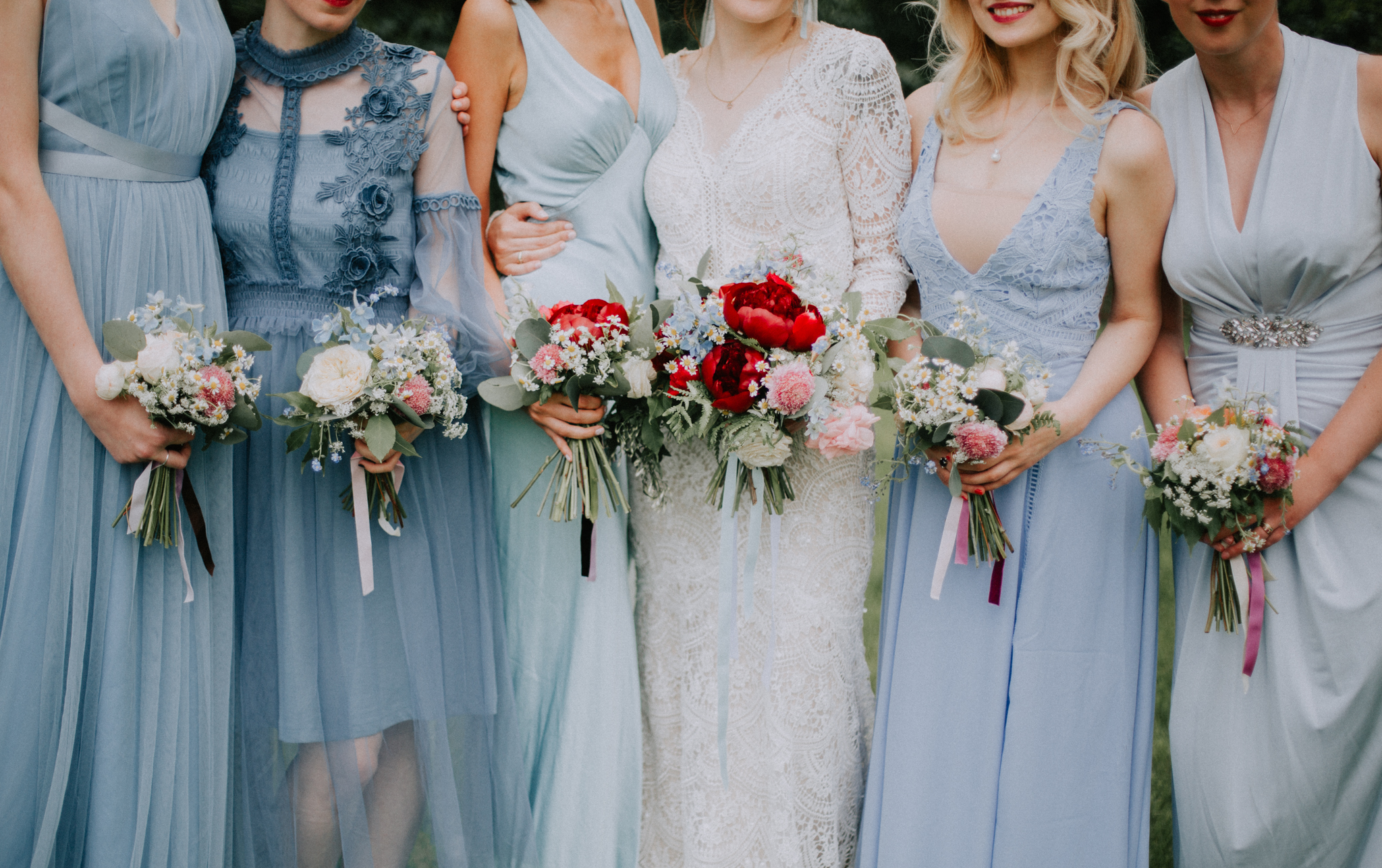 The close up shot of all boho girls at the wedding