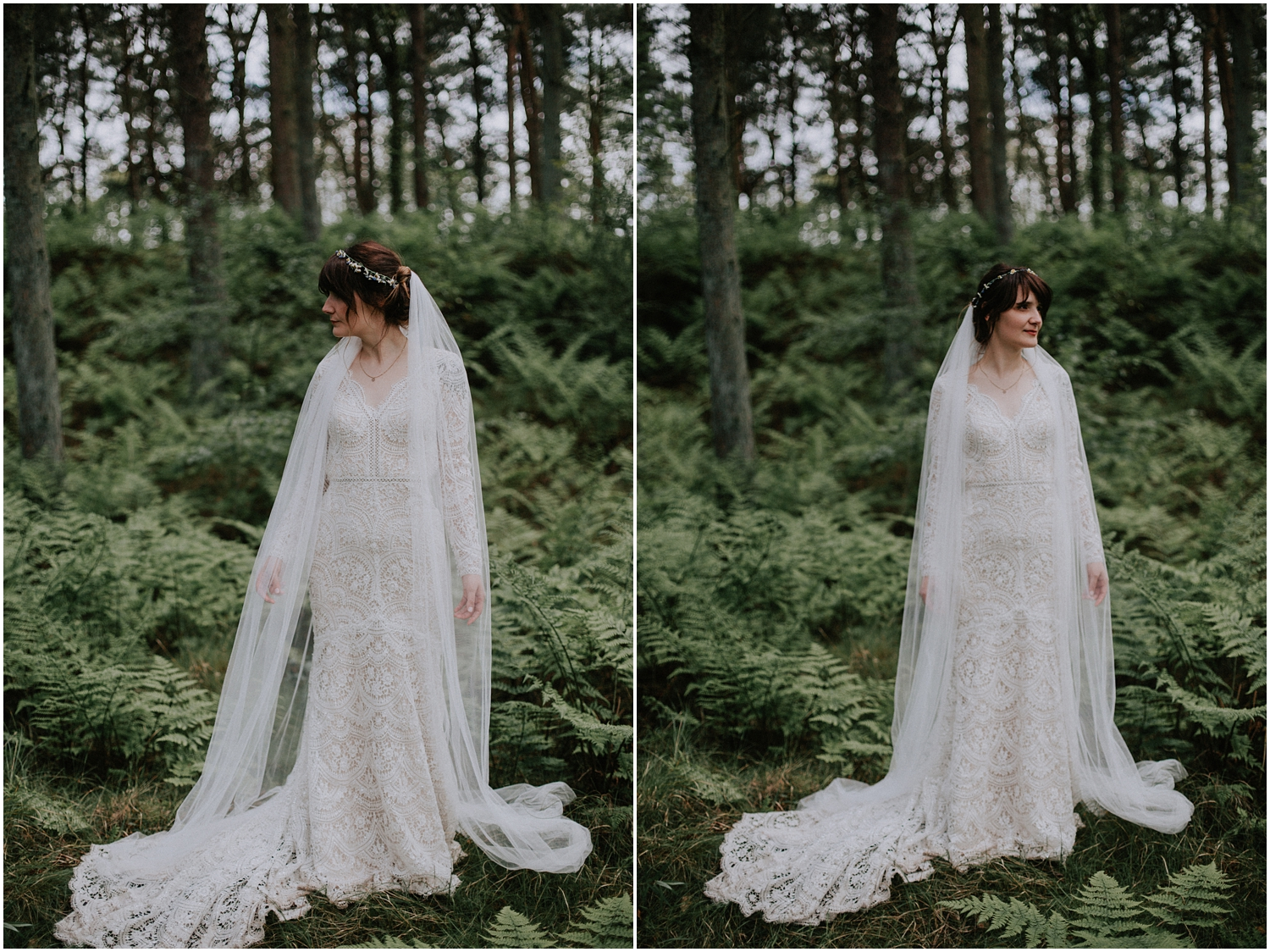 The creative bridal portraits in the wild forest