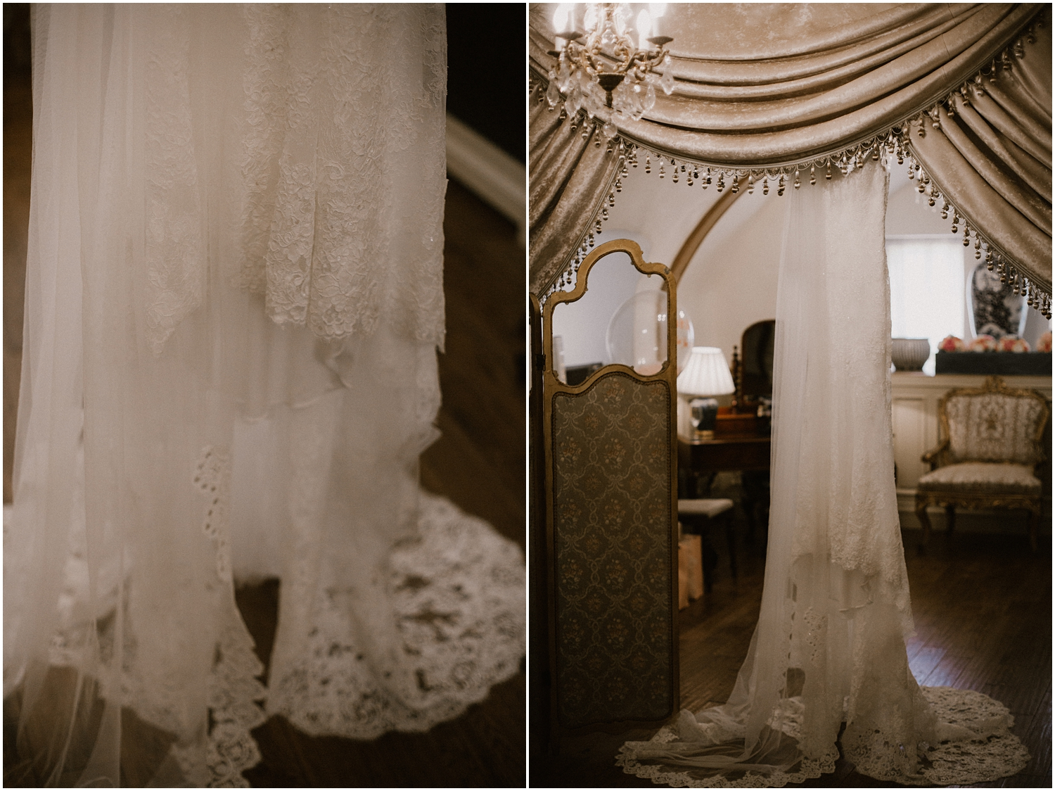 Enzoani wedding dress from Opus Couture in West Kilbride is hanging on in the room of Crossbasket Castle