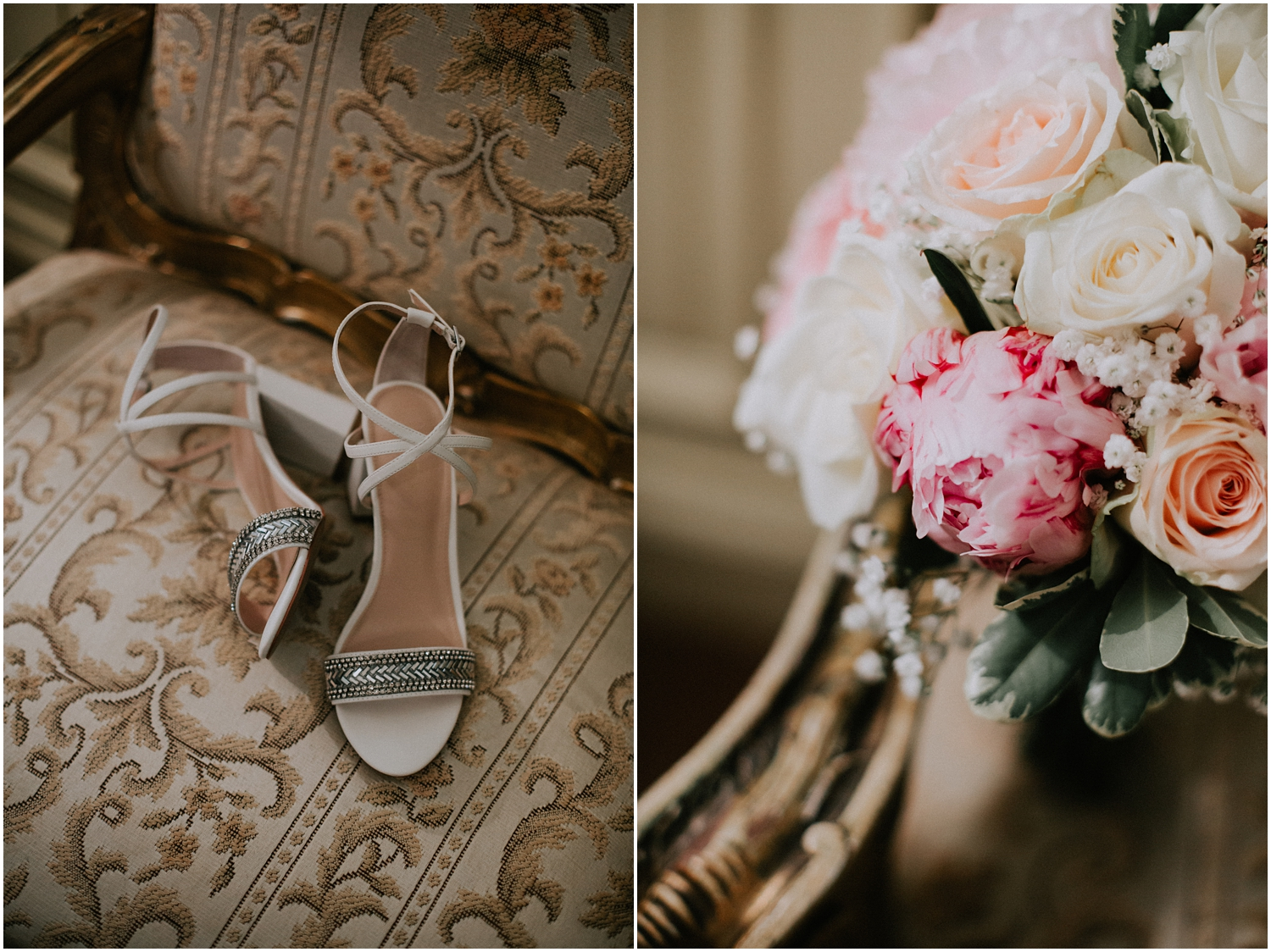 Kurt Geiger shoes and bridal bouquet from Eros Fairytale Flowers