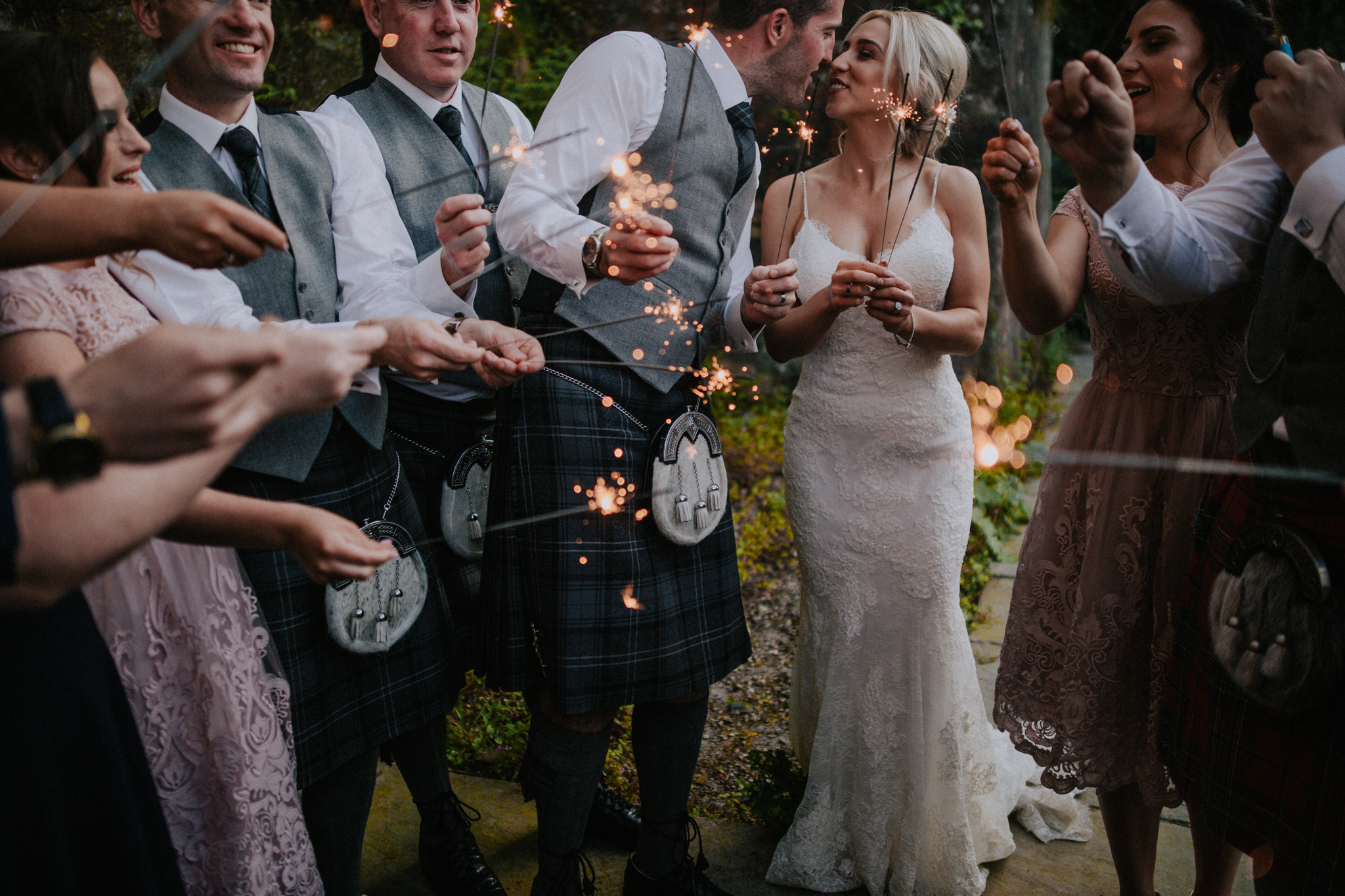 Glasgow wedding photography at the Crossbasket castle, sparklers shot