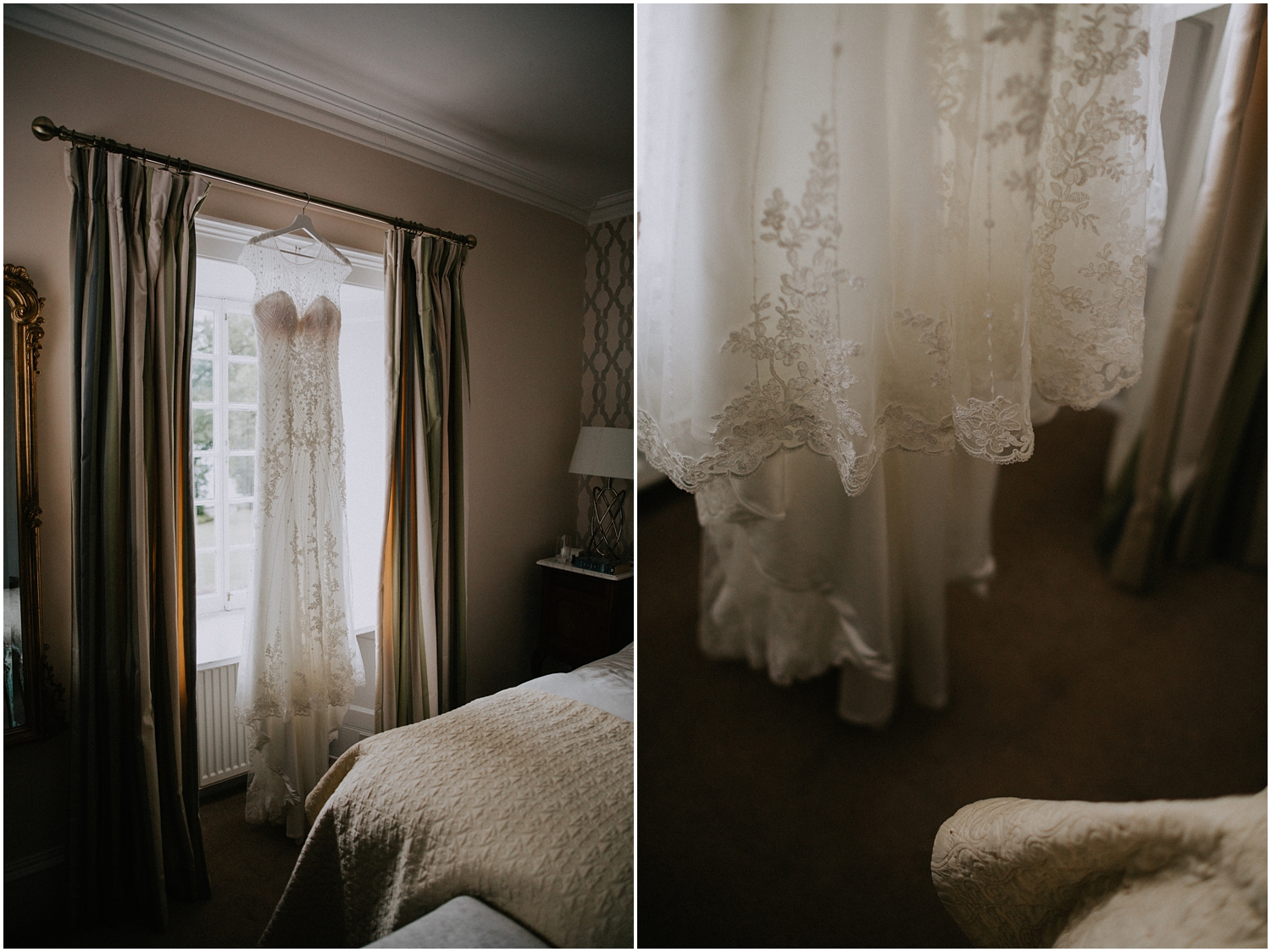 The bridal dress from Melle Cloche is hanging on a window in the room at Altskeith Country House