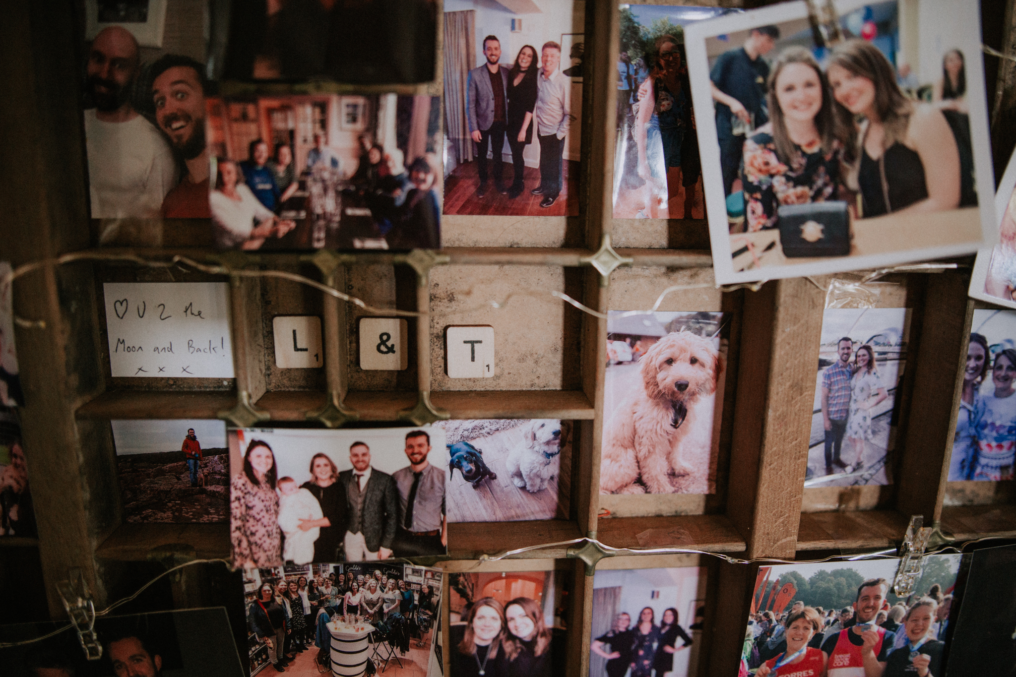 A rustic photo board with personal messages