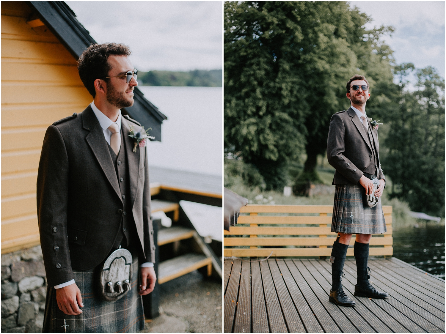 Relaxed and natural groom's portrait on the shores of Loch Ard