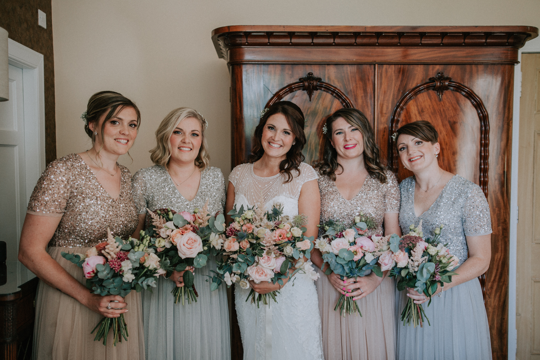 Bridesmaids portrait before the ceremony