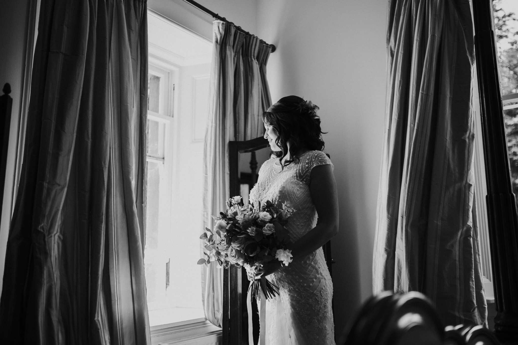 Black and white bridal portrait at Altskeith Country House