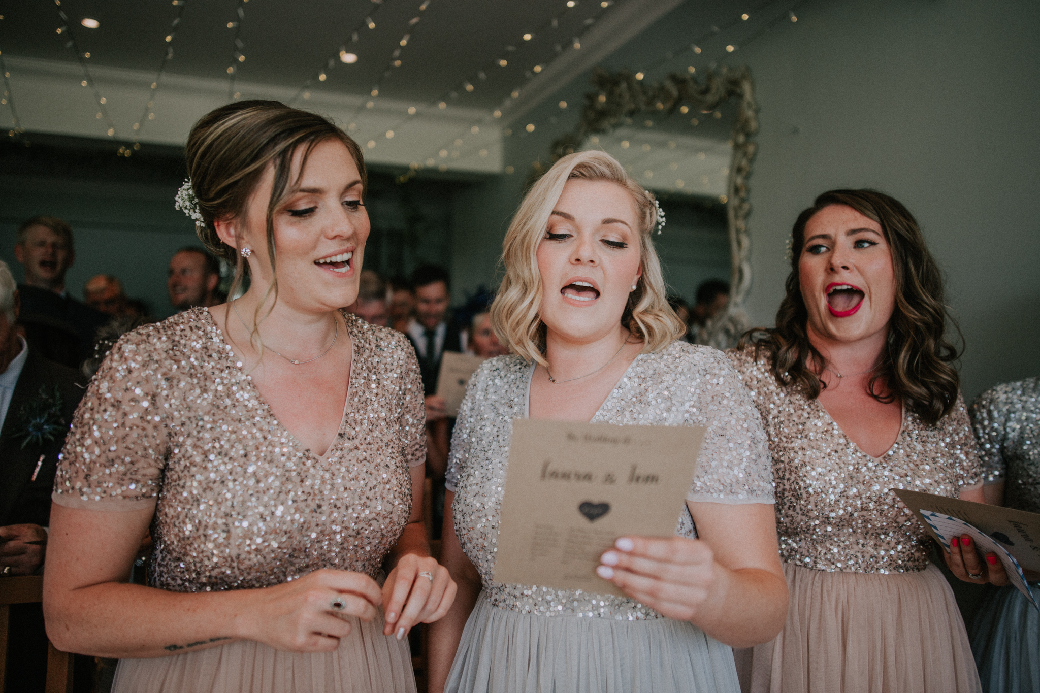 Bridesmaids are singing the wedding song