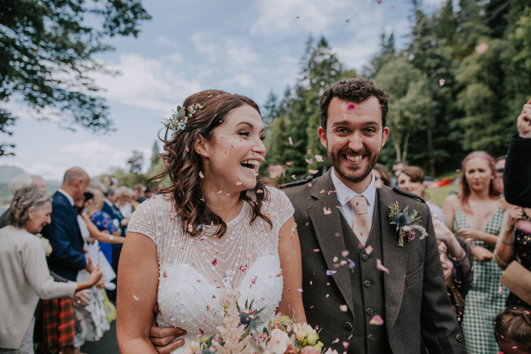 The fun confetti shot at Altskeith Country House on Loch Ard in Scotland