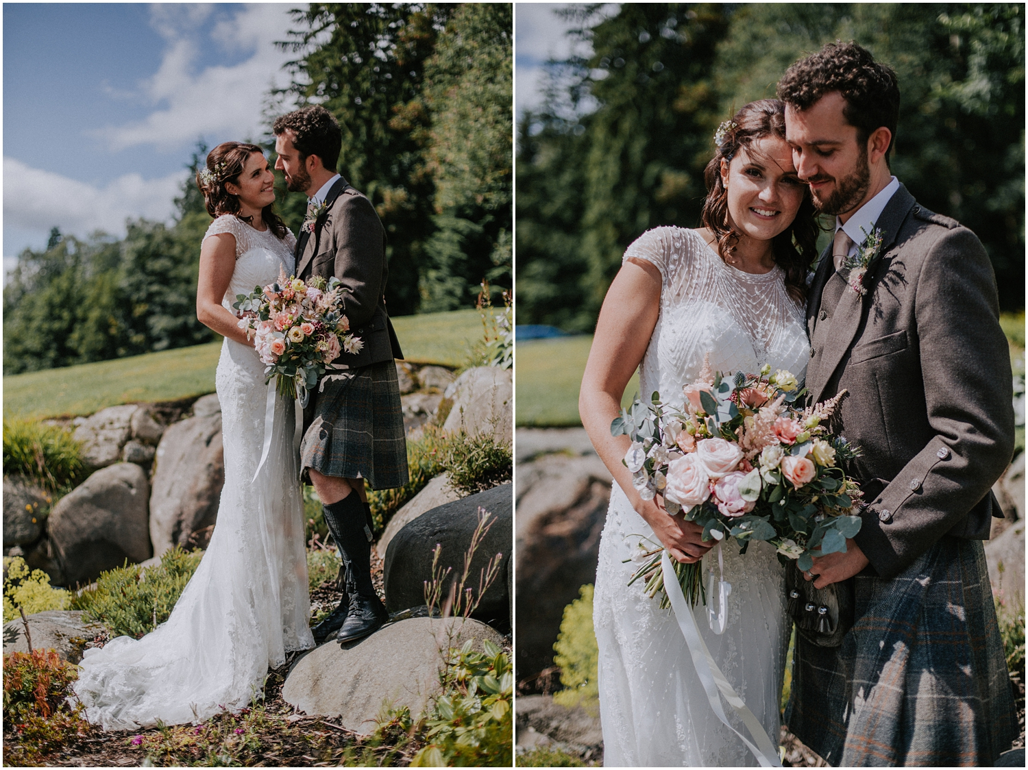 Natural and relaxed wedding photographer at Altskeith Country House on Loch Ard in Scotland