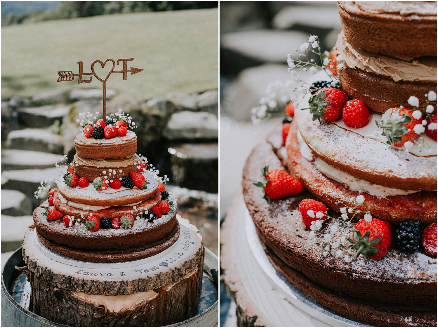 The rustic, naked cake in front of Altskeith Country House