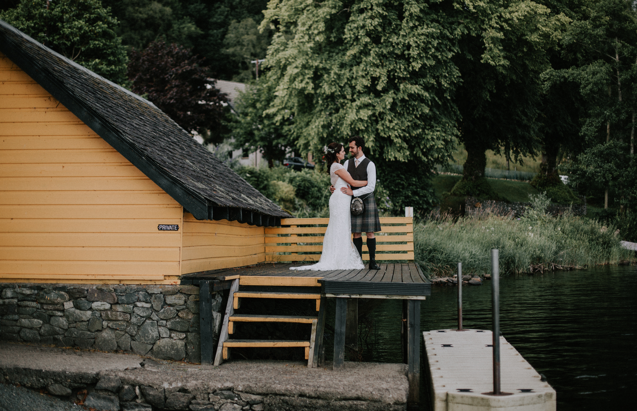 The classic shot at the yellow boat house at Altskeith Country House