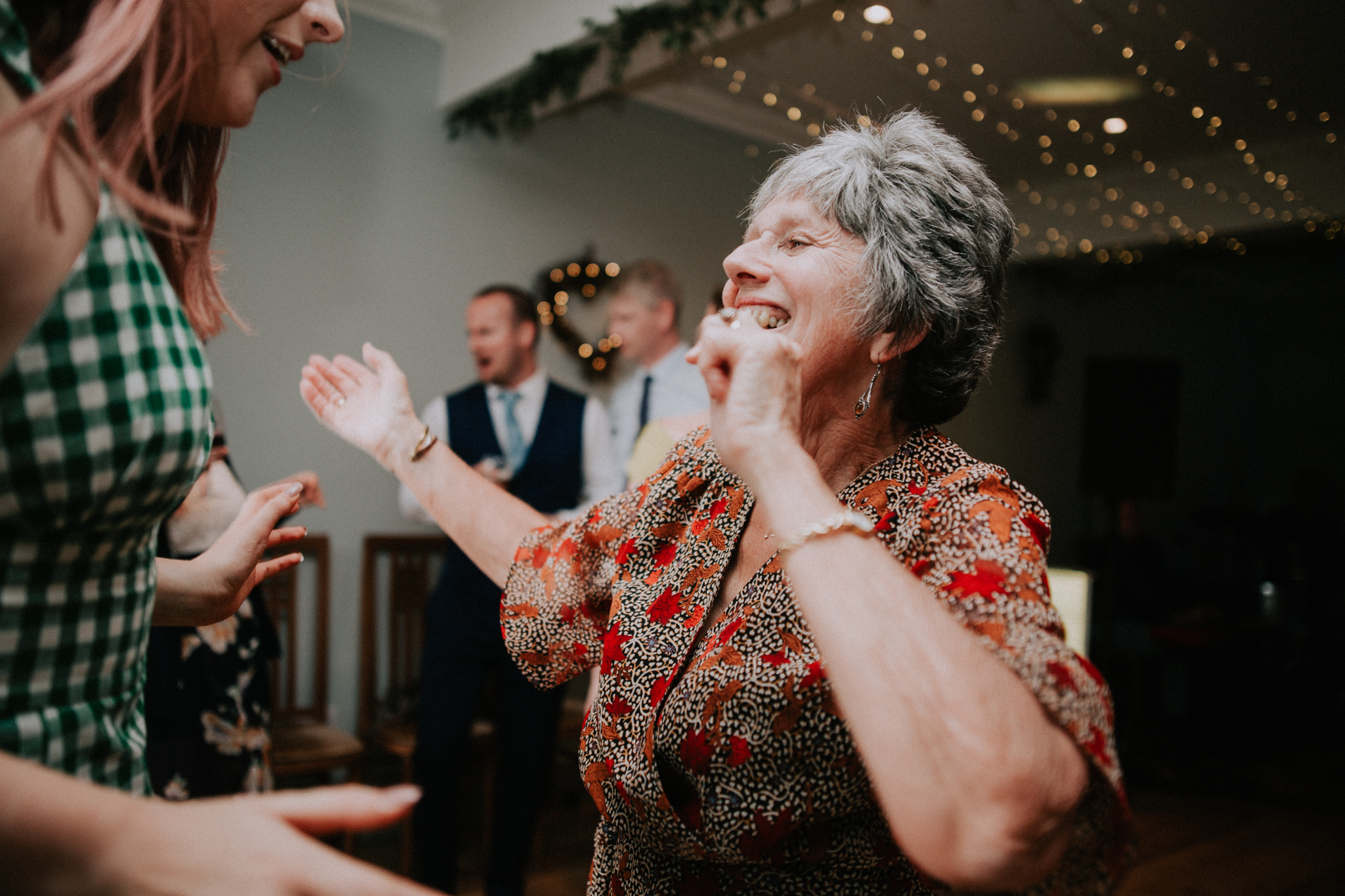 Mother of the groom is dancing at Altskeith House