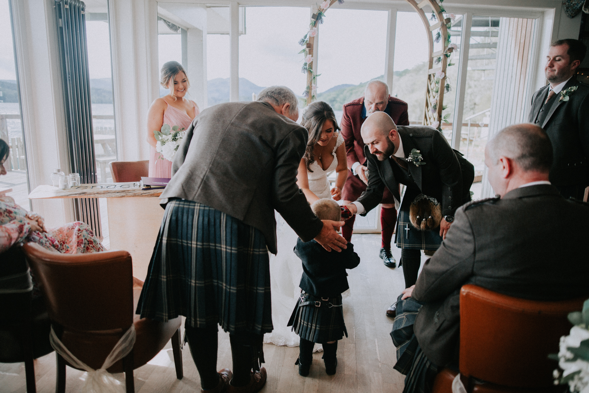 The wedding ceremony at the Venachar Lochside