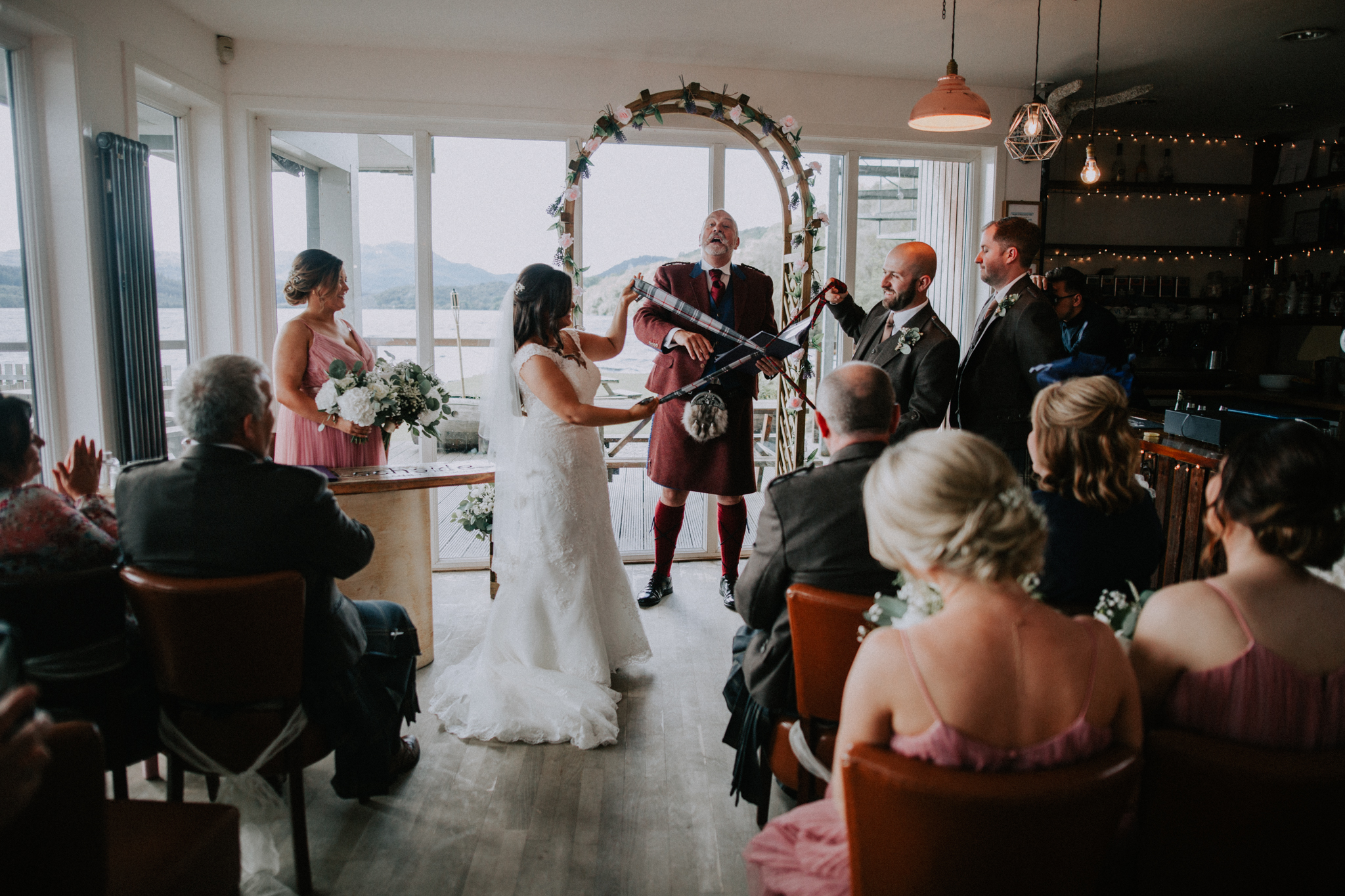 Wedding photographer t the Venachar Lochside in Callander, Scotland