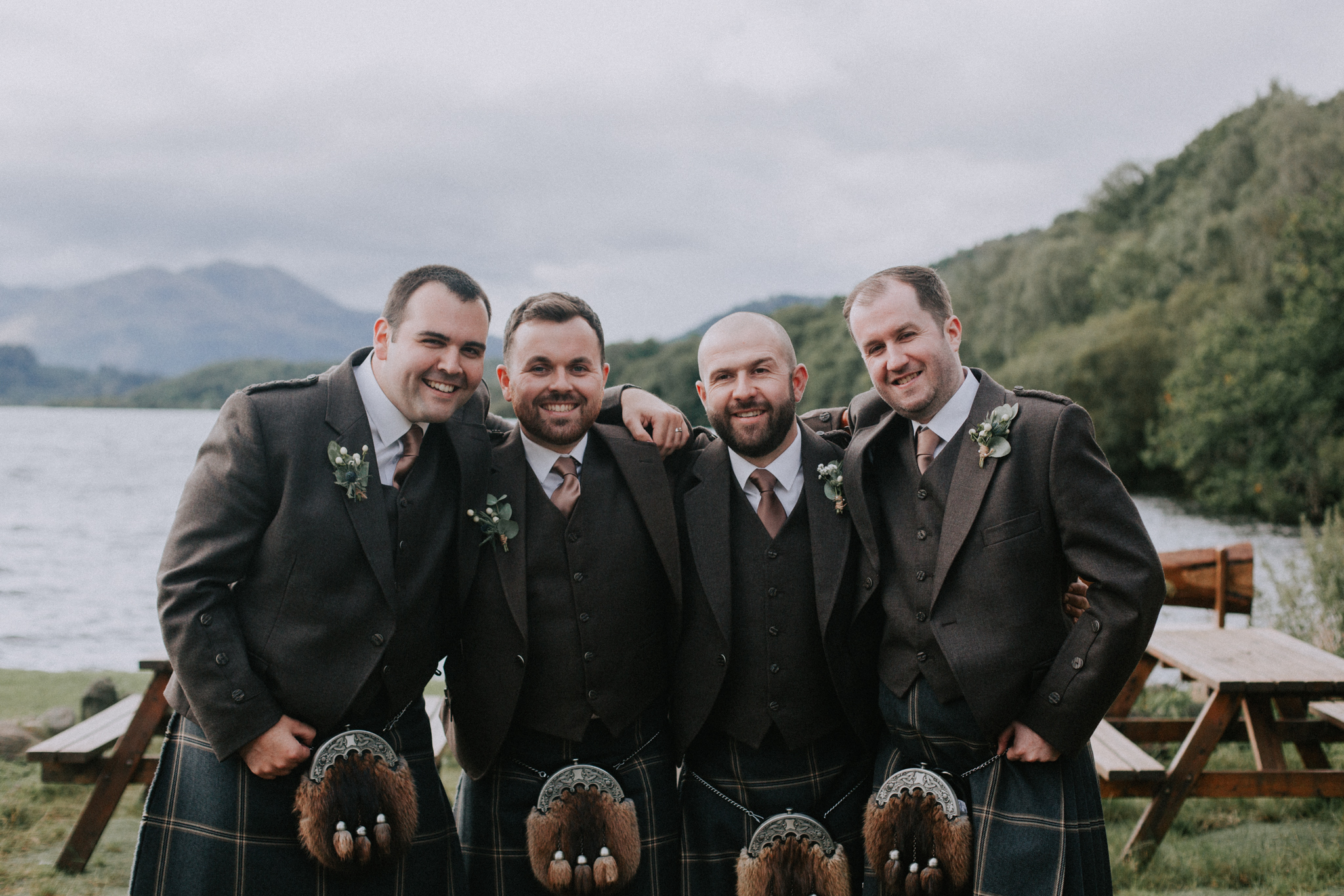 The groom party shot at Venachar Lochside
