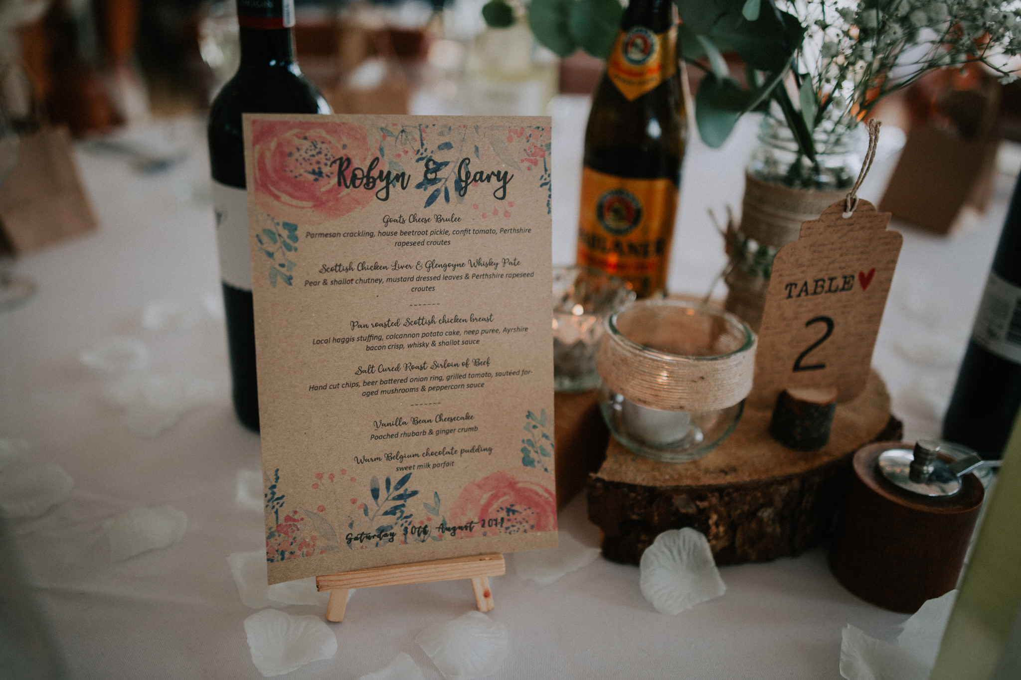 The wedding menu on the table