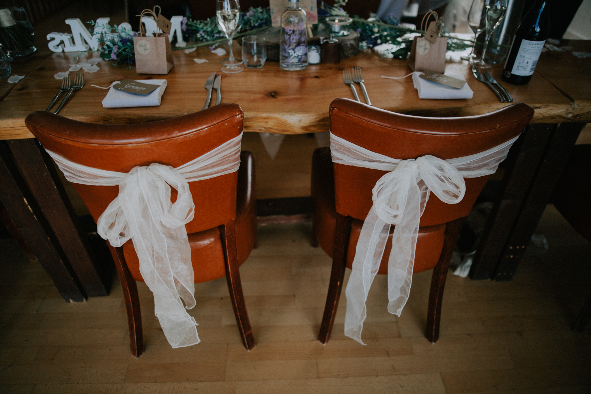 The rustic and creative table decor at Venachar Lochside