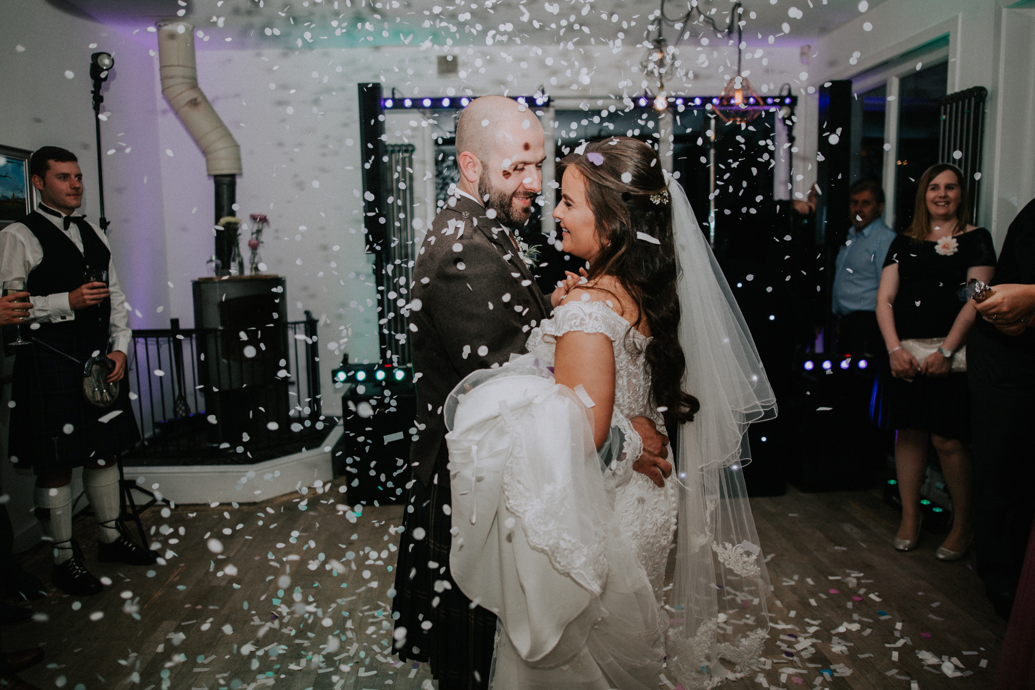 A massive cannon confetti shot for the first dance